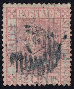 /STRAITS SETTLEMENTS 1867 Isc#18 32c Crown CC bottom CREASED @P947