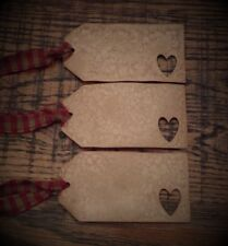 Sweet Primiitve Hang Tags~Homespun~Aged~Heart~Red~Cinnamon~Vanilla Scented~