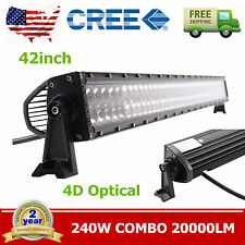 "42"" 240w CREE LED Work Light Bar 4D Lens FLOOD SPOT Jeep Tractor Offroad Lamp"