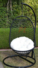 Wicker Rattan Swing Bed Chair Weaved Egg Shape Hanging Hammock- BLACK/Khaki