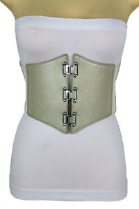 Women Gold Metallic Beige Corset Belt High Waist Stretch Silver Metal Hooks S M