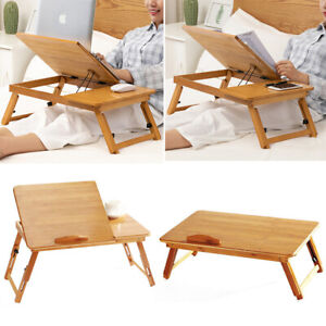 64cm Bed Tray Bamboo Wood With Folding Leg Serving Breakfast Lap Tray Table Mate