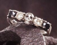 Unisex Skull 925 Silver White Black Sapphire Wedding Proposal Jewelry Ring #6-10