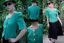 Vtg 40s Style Trachten Tofana 100% Linen Green White Dirndl Jacket Size 14/16...