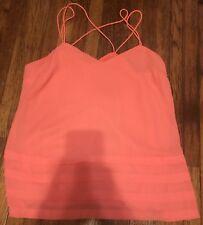 Women's Candies Pink Tank Top Sz S Chiffon Bottom Tier Strappy Back
