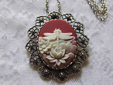 #JRK902D Red Dragonfly Cameo Necklace Pendant Brooch Combo Victorian Wings