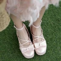 Cosplay Lolita Bows Decor Buckle Ankle Strap Mary Jane Womens Block Heel Shoes