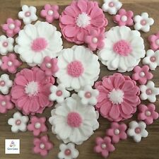 30 Pink & White Bouquet Edible Flowers Cake Cupcake Toppers Decorations Wedding