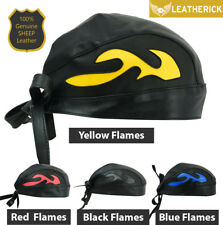 839776b0099 Leatherick Motorcycle Leather BANDANA Flames Style Head Wrap Bikers Skull  Cap