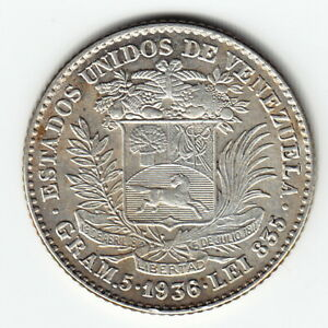 VENEZUELA Gram.5 = 1 Bolivar 1936 Y22 Ag.835 Last date Phila RARE in HIGH GRADE!