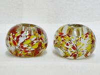 VINTAGE PAIR OF MILLEIORI ART GLASS CANDLE HOLDERS PAPERWEIGHTS WITH LABELS