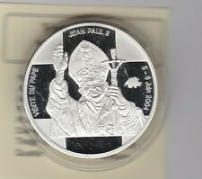2004 CONGO VISIT TO SWITZERLAND SILVER 10 FRANCS WITH CAPSULE & CERTIFICATES.