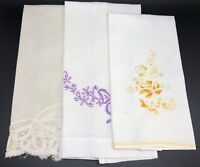 Lot of 3 Vintage Hand or Guest Towels w/ Embroidery or Lace (RF843)
