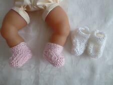 vetement pour poupée corolle 30 et 36cm 2 paires chaussons couleur rose et lait