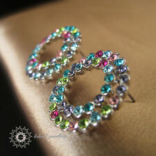 White Gold Plated/Multicolour Crystal Ring/Circle Stud Earring/RGE297S/307S/308S