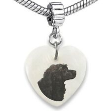 Portuguese Water Dog Heart Mother Of Pearl European Bracelet Charm Bead EBS174