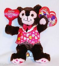 New Disney World Parks Hidden Mickey Mouse Valentine's Day Brown Bear Plush