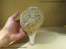 Tibet Buddhism exquisite Carved shell conch Padmasambhava Buddha Conch horn