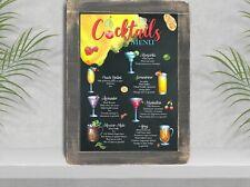 Cocktail bar RICETTE MENU Wall Art Print sign (B)