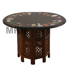 Black Marble Vintage Coffee Table Stone Inlay End Table Top Mid Century Carved