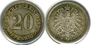 Empire 20 Pfennig 1876 F Brilliant Uncirculated