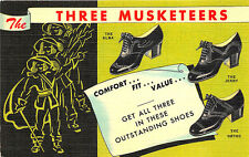 Topeka KS Foot & Shoe Clinic Three Musketeers Shoes Curt Teich Linen Postcard
