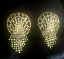 Vintage MUSI Gold Rhinestone Shoe Clips