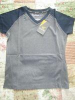 Easton GirlV-Neck Short Sleeve Raglan ShirtNavy/Charcoal Youth Medium