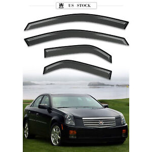 Window Visor Sun Rain Guards Dark Smoke, 4-Piece Set for 03-07 CADILLAC CTS