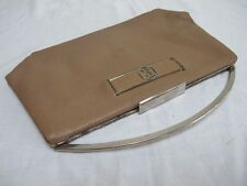VINTAGE 1930's ART DECO BEIGE LEATHER & CHROME MONOGRAM CLUTCH PURSE HANDBAG
