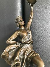 XL Bronzefigur Art Deco Russian Tamburin Dancer Vintage 43 cm Signiert B. Zach