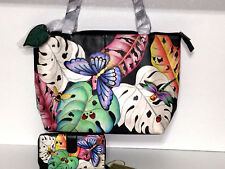 Anuschka Hand Painted Leather East-West Tote Shopper RFID Wallet Lovely Leafs