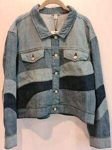 Rare Neon Rose Patchwork Denim Jacket ~ NWT ~ XL 14 16