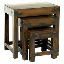 Genuine Solid Jaipur Indian Hardwood Thakat Dark Wooden Nesting Nest of 3 Tables