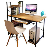 Home Office Study Work Station Computer PC Desk Table Metal Frame Storage Shelf
