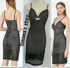 NWT bebe Shadow Stripe Plunge Dress SIZE S Super Sexy,  $137