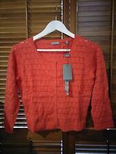 Jigsaw Pointelle Cardigan in Poppy Orange - Size Small - RRP $159