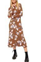 Free People Retro Romance Midi Dress XS Brown Floral Pink