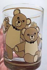 Georges Briard Christmas Teddy Bears Bowties Glass Clear with Tan Bears Wreaths