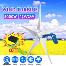 5000W DC 12V/24V  5 Lames Turbine Générateur Éolienne Aérogénérate + Contrôleur