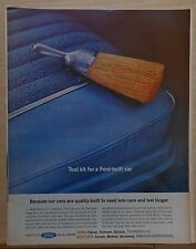 1962 magazine ad for Ford - whisk broom is Tool kit for Ford-built car