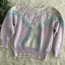 Vintage Jaclyn Smith Fairy Kei Kawaii Chenille Embellished Pearl Sweater Pastel