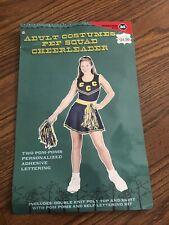 Cheerleader Pep Squad Costume Adult Medium Blue & Gold from Target + Pom Poms