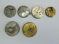 Lot Elgin Pocket Watch Movement Partial Parts or Repair