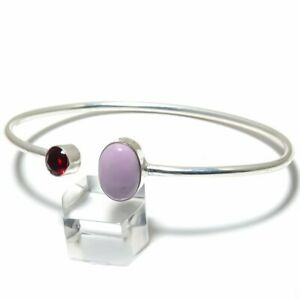 Phosphosiderite, Garnet Gemstone Handmade 925 Silver Cuff Bracelet Adjustable