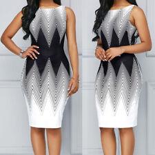 Women Gradient Sleeveless O Neck Ladies Summer Office Short Package Hip Dress ED