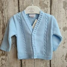 Spanish Style Traditional Baby Boy Blue Cable Knit Cardigan.