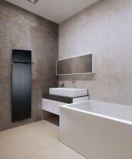 450mm Wide 1600mm High Black Designer Heated Towel Rail Radiator Slim Bathroom