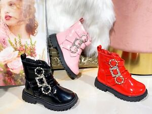 Toddler Kids Girl Winter Ankle Boots Diamante Buckle Warm Fashion School Shoes