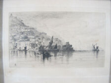 Antique 1881 Dry Point Etching Seaside Sailing Scene Initialed STUMPED NR yqz